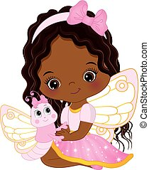 Vector Cute Little African American Fairy with Butterfly