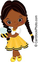 Vector Cute Little African American Girl with Bee