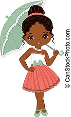 Vector Cute Little African American Girl in Retro Style