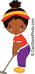 Vector Cute Little African American Girl Playing Golf