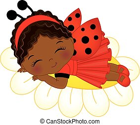 Vector Cute Little African American Girl  Sleeping
