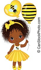 Vector Cute Little African American Girl with Balloons