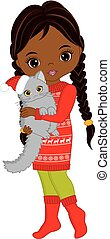 Vector Cute Little African American Girl with Cat