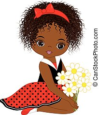 Vector Cute Little African American Girl with Flowers