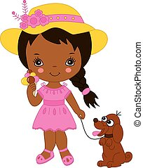Vector cute little African American girl with ice cream and a dog. Vector little African American girl. Little African American girl with ice cream vector illustration