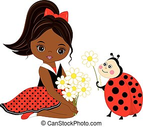 Vector Cute Little African American Girl with Ladybug and Flowers