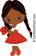 Vector Cute Little African American Girl with Ladybug