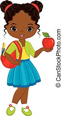 Vector Cute Little African American Girl with School Bag and Apple