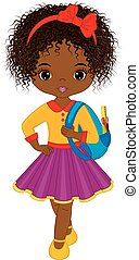 Vector Cute Little African American Girl with School Bag