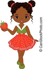 Vector Cute Little African American Girl with Strawberry