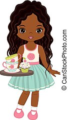 Vector Cute Little African American Girl with Tray, Tea Cups...