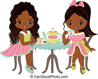 Vector Cute Little African American Girls Having Tea -...