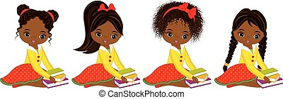 Vector Cute Little African American Girls with Books