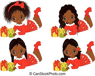 Vector Cute Little African American Girls with Christmas Gifts