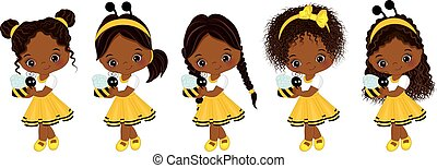 Vector Cute Little African American Girls with Various Hairstyles