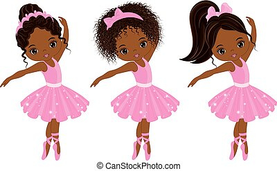 Vector Cute Little African American Ballerinas with Various...