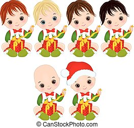 Vector Cute Little Baby Boys Wearing Christmas Clothes