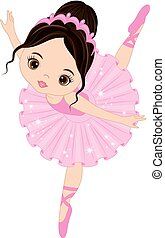 Vector Cute Little Ballerina Dancing