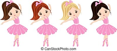 Vector Cute Little Ballerinas with Various Hair Colors -...