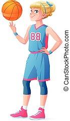 Vector cute little basketball player girl spinning ball on finger.