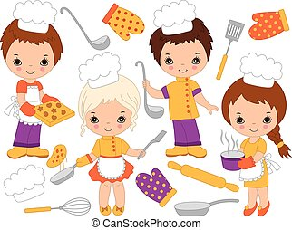 Vector Cute Little Chefs