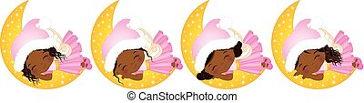 Vector Cute Little Christmas Fairies Sleeping on the Moon