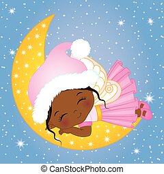 Vector Cute Little Christmas Fairy Sleeping on the Moon