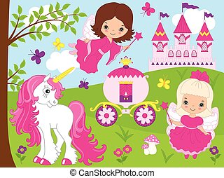 Vector Cute Little Fairies with Unicorn, Carriage and Castle.