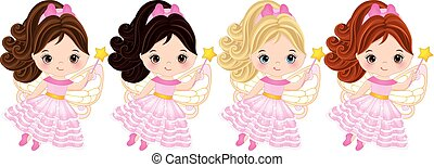 Vector Cute Little Fairies with Various Hair Colors - Vector...
