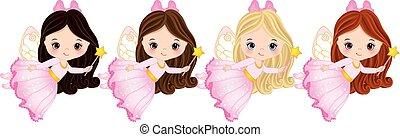 Vector Cute Little Fairies with Various Hair Colors