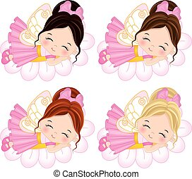 Vector Cute Little Fairies with Various Hair Colors - Vector...