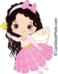 Vector Cute Little Fairy with Magic Wand - Vector cute...