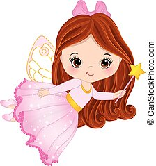 Vector Cute Little Fairy with Magic Wand - Vector cute...