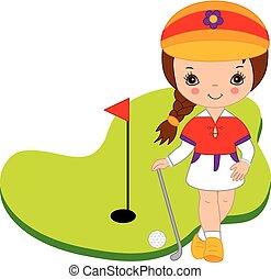 Vector Cute Little Girl Playing Golf