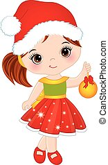 Vector Cute Little Girl Wearing Santa Hat