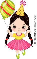Vector Cute Little Girl with Balloon