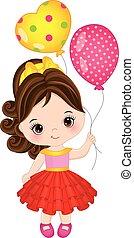 Vector Cute Little Girl with Balloons