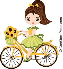 Vector Cute Little Girl with Basket of Sunflowers