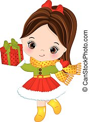 Vector Cute Little Girl with Christmas Gift Box