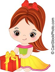 Vector Cute Little Girl with Gift Box