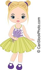 Vector Cute Little Girl with Lavender Bouquet