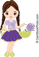 Vector Cute Little Girl with Lavender
