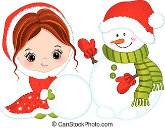 Vector Cute Little Girl with Snowman