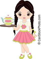 Vector Cute Little Girl with Tea Pot