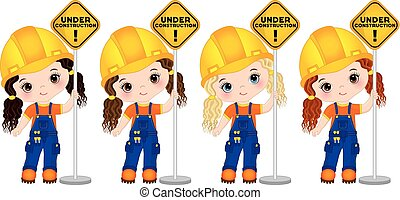 Vector Cute Little Girls Builders Holding the Sign - Under Construction