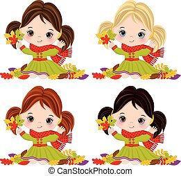 Vector Cute Little Girls with Autumn Leaves