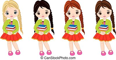 Vector Cute Little Girls with Books - Vector cute little...