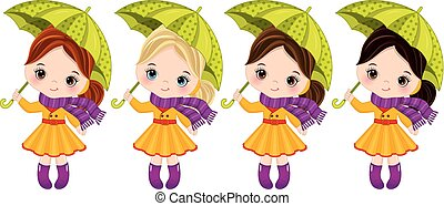Vector Cute Little Girls with Umbrellas