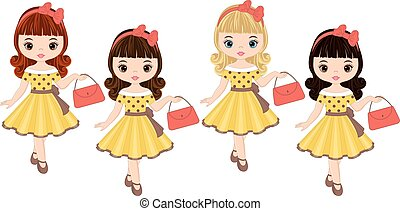 Vector cute little girls with various hair colors in retro style. Pin-up little girls vector illustration