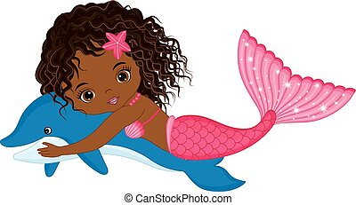 Vector Cute Little Mermaid Swimming with Dolphin. Vector African American Mermaid